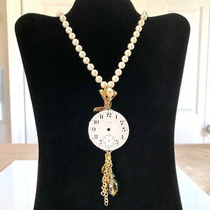 Vintage Reversible Pearl & Watch Face Necklace